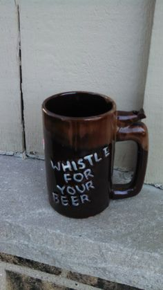 Vintage Ceramic Wet Your Whistle/Whistle For Your Beer Mug by CollectorsAgency on Etsy