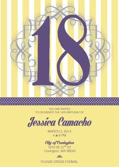 18 Birthday Invitation/ Purple, yellow and silver theme.  Message me for business inquiries.