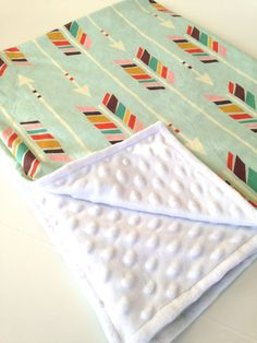 Minky baby blanket mint rainbow arrows chevron by WilderAndBean