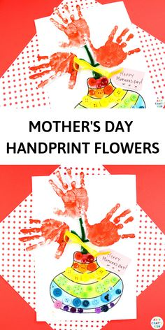 Mother's Day Handprint Flower Craft – Make Happy Your Mom Mother's Day Printables, Printable Crafts, Easy Arts And Crafts, Crafts For Kids To Make, Mothers Day Crafts, Happy Mothers Day, Sunflower Crafts, Mothersday Cards, Footprint Crafts