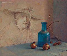 """""""Geen blauw""""   Piet Sebens  35.0 x 42.0 cm - Olieverf over acrylverf op paneel - 1992"""