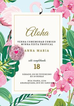 Birthday Invitation Background, Party Background, Birthday Invitations, Hawaiian Luau Party, Tropical Party, Flamingo Birthday, Flamingo Party, 21st Birthday Themes, Sunset Party