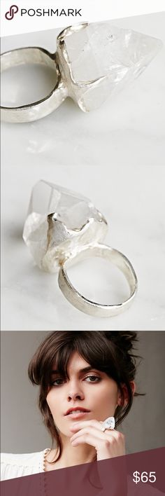 Sterling silver ring with large Quartz crystal From Free People. Last picture is exact photo of ring. Sterling silver. Size 7. Very boho hippie chic. NWOT. Free People Jewelry Rings