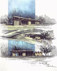 mil me gusta, 15 comentarios - architecture - daily ske Landscape Architecture Drawing, Architecture Sketchbook, Architecture Graphics, Architecture Plan, Architecture Presentation Board, Storyboard, Architectural Sketches, Sketch Design, Design Art