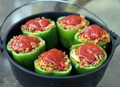 Dutch Oven Stuffed Peppers...I would prep the peppers at home