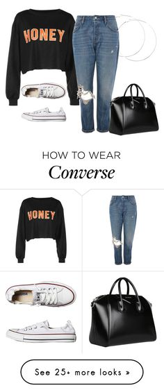 """hun"" by nnstylexo on Polyvore featuring Topshop, Converse and Givenchy"