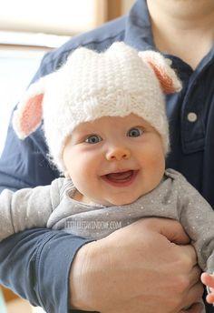 Free Little Lamb Hat Knitting Pattern for babies! | littleredwindow.com