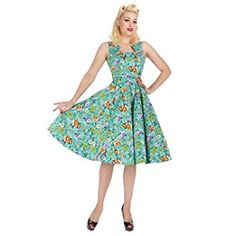 Hearts and Roses London Turquoise Blue Floral Retro 1950s Flared Tea Dress