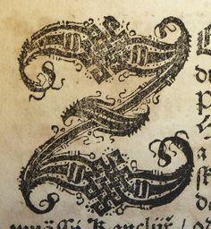 Initial Z used by Jiří Melantrich z Aventina of Prague.  1511 to 1580.  Photo by the Penn Provenance Project.