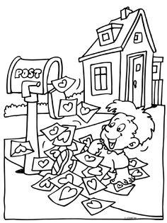 Coloring For Kids, Coloring Pages, Worksheets For Kids, Writing Skills, Mail Art, Post Office, Art For Kids, Kindergarten, Preschool