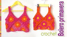 ¡Con 9 grannies o cuadrados tejidos a crochet lograrán hacer un lindo bolero primavera modelo mariposa! En el video lo explicamos en 2 tallas: pequeña (para ...