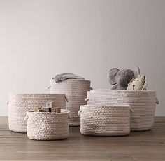 Braided Wool Baskets - contemporary - Baskets - Restoration Hardware Baby & Child
