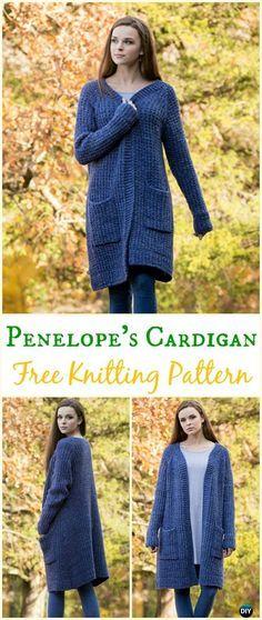 Women's Penelope's Cardigan Sweater Free Knitting Pattern - Knit Women Cardigan Sweater Coat Free Patterns