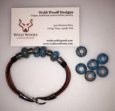 Handmade leather and blue Malachite cord bracelet