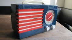 Catalin Bakelite Radio Emerson 400 Patriot Blue with Red and White Trim   eBay
