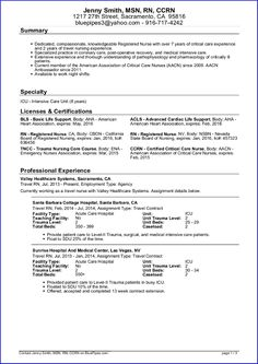 sample travel nursing resume free template