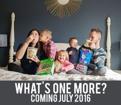 With three little kids in the house already, life is pretty much chaos, so what's one more? That's exactly the sentiment of this funny pregnancy announcement from Ashley Jennings Photography that shows mom and dad just going with the flow as everyone eats pretzels and cereal on their bed. Mom's even chowing down on a gallon of ice cream to satisfy her pregnancy cravings. Dad, meanwhile, is one smart cookie and is wisely getting caffeinated.