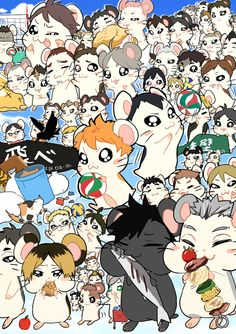 #Haikyuu x #Hamtaro by Miss Cigarettes.....OMFG This Is The Most Cutest Thing I Have Ever Seen This Deserves A 1000 Pins...