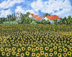 "Sunflowers In Provence France (ORIGINAL ACRYLIC PAINTING) 8"" x 10"" by Mike Kraus- landscape french art farm barn field clouds nature fun eid"