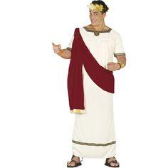 Para imitar a los regidores romanos ponte esteDisfraz de Cesar Augusto para hombres. Un traje de estilo romano que lleva una túnica larga en color crema, con u