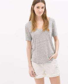 1062e03462 the  perfect  summer tee    zara linen t-shirt Linen Tshirts