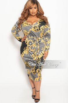 eac20e5896e Plus Size Long Sleeve BodyCon Dress in Black White and Gold Print – Chic  And Curvy
