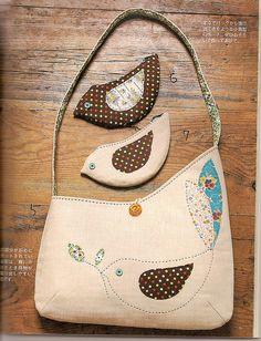 adorable bird applique bag with matching coin purses