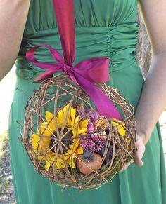 Rustic Silk Sunflower Pomander/ Kissing Ball/ by AprilHilerDesigns