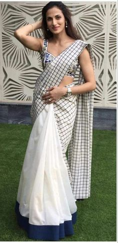 Beautiful sari Formal Saree, Casual Saree, Choli Dress, Sari Design, Jamdani Saree, Saree Blouse Neck Designs, White Saree, Simple Sarees, Ethnic Sarees