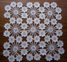 Turkish Lace-Crochet Work By Demet: White, Square,Mini Flower Doily - Diy Crafts Crochet Tablecloth Pattern, Crochet Bedspread, Crochet Square Patterns, Crochet Motifs, Filet Crochet, Irish Crochet, Hand Crochet, Crochet Dollies, Cotton Crochet