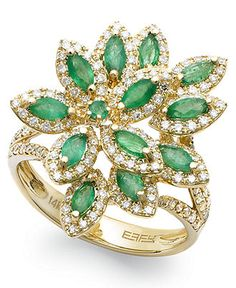 Fab in floral. This beautiful Brasilica by Effy ring features an ornate design of overlapping flower petals bejeweled with sparkling and marquise-cut emeralds (1-1/16 ct. t.w.) and round-cut diamonds