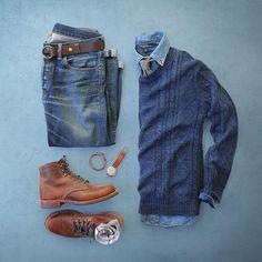 Always happy to have the winter blues. Tie: @jcrew Sweater: @urbanoutfitters Shirt: @bananarepublic Boots: @wolverine 1000 Evans Belt: @toddsnyderny Socks: @mrgraysocks for @toddsnyderny Bracelet: @caputoandco Watch: @miansai Denim: RRL @ralphlauren by thepacman82
