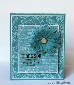 "Love the blue of this ""Thank You"" card using Botanical Tea and Core'dinations cardstock by Debbie #Graphic45 #coredinations"
