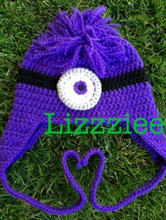 Purple Minion Earflap Hat  toddler or kids size  by lizzziee, $27.00
