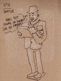 [ #DRAWING ] Tweets crier - Place de la Bastille, #Paris http://www.lescarnets.fr/sketch.php?id=1085 #art #travel