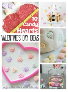 Conversation hearts learning activities. Hands-on Valentine's Day activities with candy. Candy science experiments, candy math activities, and candy sensory play. Preschool Valentines Day activities for early learning.