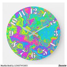 Marble Acid Large Clock