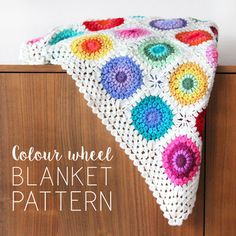 The pattern is available in Dutch (Nederlands) as well. The Colour wheel blanket is a festivity of colour! Use up all of your scraps and leftovers in this happy scrappy blanket.