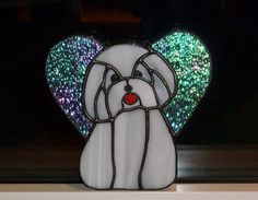 Coton de Tulear Angel Stained Glass by SaraFranceGlassart on Etsy