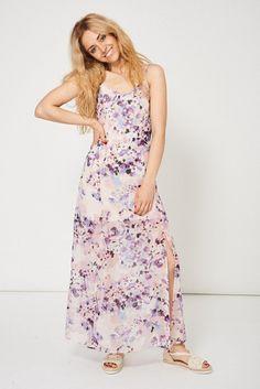 Floral Pattern Split Front Maxi Dress Ex-Branded