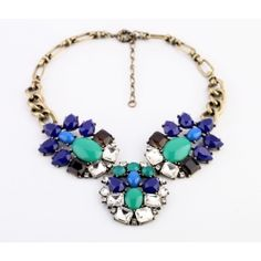 Buy Wholesale Luxury Crystal Retro Blue Gemstone charm Pendant Choker Bib Statement Necklace Women Jewelry from Chinese Wholesaler Drop Necklace, Crystal Necklace, Pendant Necklace, Short Necklace, Beaded Necklace, Fashion Necklace, Fashion Jewelry, Pattern Floral, Retro Pattern