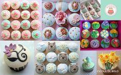 Decorações em pasta americana para cupcakes enfeitam e valorizam muito o produto. Criar uma coleção com determinado tema é uma maneira de conseguir um lindo efeito visual, seja em uma caixa ou em uma mesa.