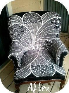 0109.7k300DIY Reupholstered Chair, Written By: Loren Crane, Pandora's Craft Box One cloudy day we found this lonely, awkward looking chair by the dumpster. I just saw the potential and the beauty this