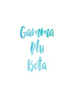 Gamma Phi Beta Blue Watercolor by rosiestelling