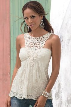 Fashionista: Love this style Style fashion clothing apparel women outfit white top crochet bracelet earrings summer