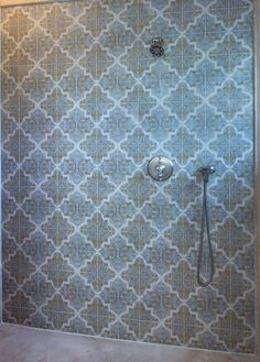 Strongly influenced by Moorish and Spanish design, the Isabella Mural by StoneImpressions beautifully depicts the feelings and influences of Mediterranean designs. Spanish Design, Mediterranean Design, Decorative Tile, Moorish, Tile Patterns, Beautiful Bathrooms, Spaces, Shower, Wall