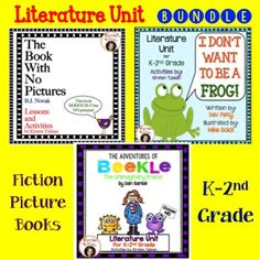 Picture Book Literature Unit BUNDLE: The Book With No Pictures, by BJ Novak I Don't Want To Be A Frog, by Dev Petty The Adventures of Beekle, by Dan Santat Save 25% when you buy the bundle!