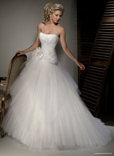 Satin Strapless Dipped Neckline Ball Gown Wedding Dress With Lace