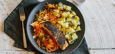 I'm cooking Sesame-Crusted Salmon with Green Chef https://greenchef.com/recipes/sesame-crusted-salmon-with-wasabi-potato-salad