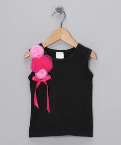 This Black & Pink Rosette Tank - Infant & Kids is perfect! #zulilyfinds